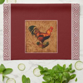 Gallo lindo y elegante del país y llave griega toallas de cocina