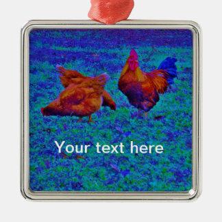 Gallo y gallinas, azul eléctrico del arco iris adorno cuadrado plateado