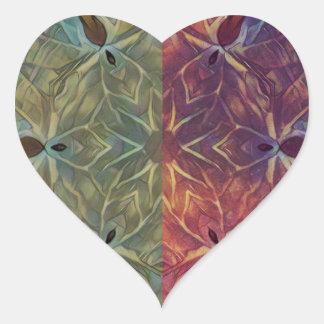 Galón frondoso pegatina en forma de corazón