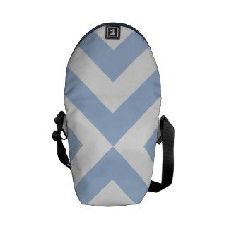 Galones azules claros y blancos bolsa messenger