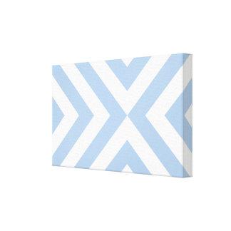 Galones azules claros y blancos impresiones en lona estiradas