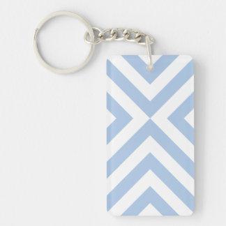 Galones azules claros y blancos llavero rectangular acrílico a doble cara