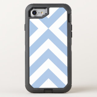 Galones azules claros y blancos rugosos y funda OtterBox defender para iPhone 7