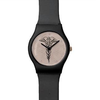 Galones médicos del símbolo del caduceo del reloj