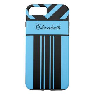 Galones negros y brillantes de las rayas azules, funda iPhone 7 plus