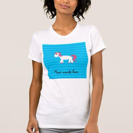 Galones rosados del azul del unicornio del pelo camiseta