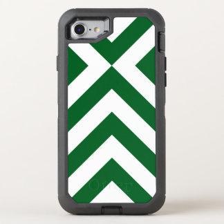 Galones verdes y blancos geométricos rugosos funda OtterBox defender para iPhone 8/7