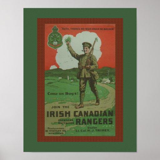 Gama canadiense irlandesa de la guerra mundial 1 póster