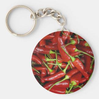 Gama del regalo de las pimientas de chiles rojos llavero redondo tipo chapa