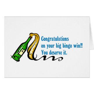 Ganador del bingo de la enhorabuena tarjeta de felicitación