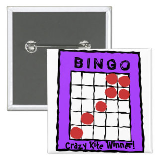 ¡Ganador loco de la cometa! botón del bingo