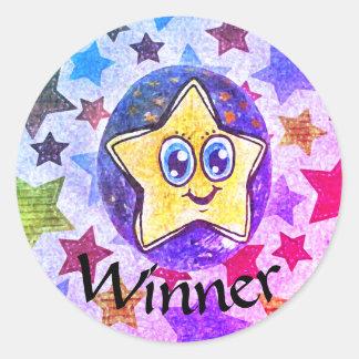 Ganador, pegatina del dibujo de la estrella de la