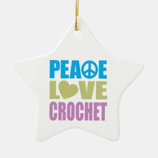 Ganchillo del amor de la paz adorno de cerámica en forma de estrella