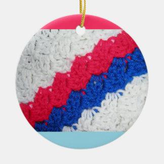 Ganchillo patriótico adorno redondo de cerámica