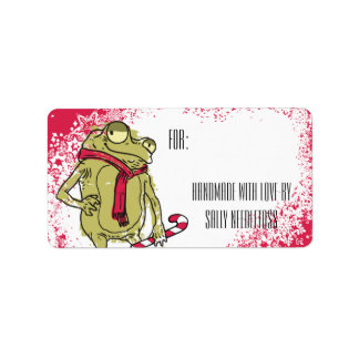 Ganchillo que hace punto de la bufanda de la rana etiquetas de dirección