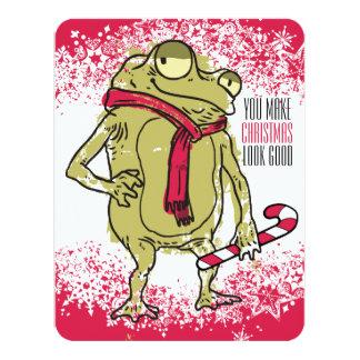Ganchillo que hace punto de la bufanda de la rana invitación 10,8 x 13,9 cm