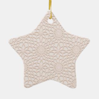 Ganchillo rosado adorno de cerámica en forma de estrella