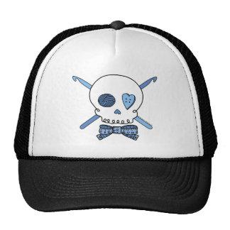 Ganchos del cráneo y de ganchillo (azules) gorras de camionero