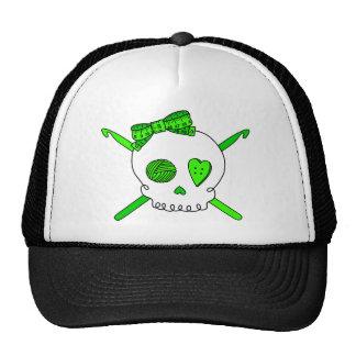 Ganchos del cráneo y de ganchillo verde lima gorro