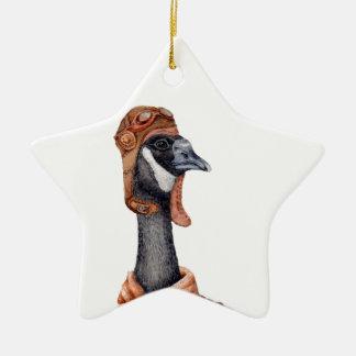 Ganso del aviador adorno navideño de cerámica en forma de estrella