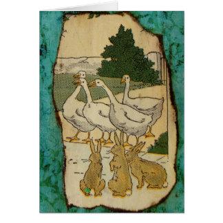 Gansos y conejos tarjeta de felicitación