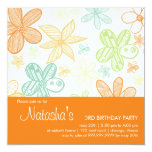 Garabatos de la flor • Invitación del cumpleaños Invitación 13,3 Cm X 13,3cm