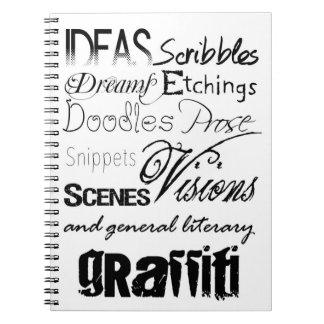 Garabatos lindos de la pintada de la tipografía de cuadernos