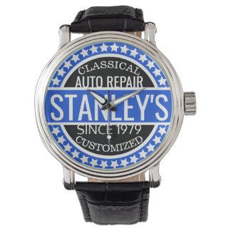 Garaje azul personalizado del vintage reloj