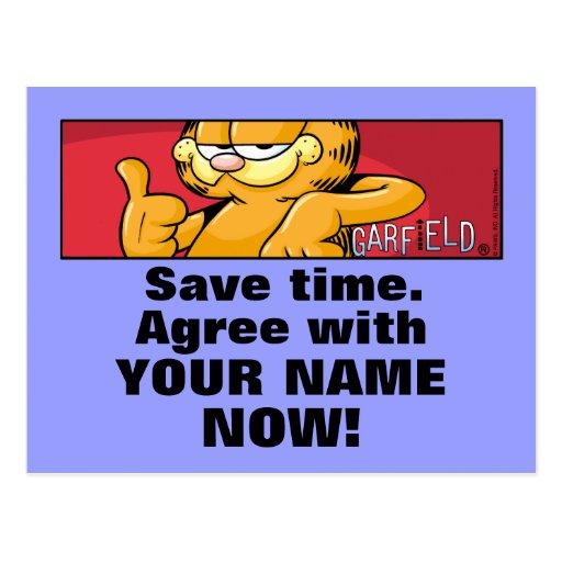 Garfield Logobox está de acuerdo conmigo las posta Tarjeta Postal