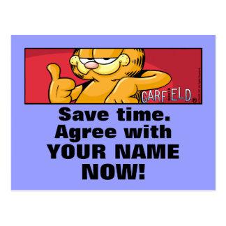Garfield Logobox está de acuerdo conmigo las Postal