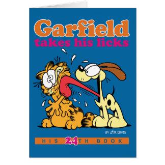 Garfield toma el suyo lame la tarjeta de nota