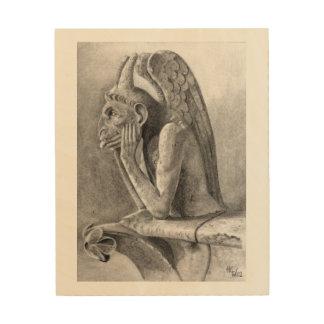 Gargoyle con alas del demonio impresión en madera