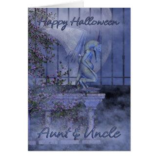 Gargoyle de la tía y del tío feliz Halloween Tarjeta De Felicitación