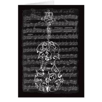 Garrapatos del violín en el manuscrito de Bach Tarjeta