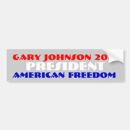 Gary Johnson 2012 para el presidente Pegatina De Parachoque