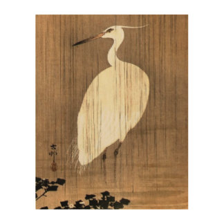 Garza blanca del vintage en la lluvia impresión en madera