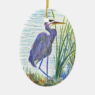 Garza de gran azul - lápiz de la acuarela adorno ovalado de cerámica