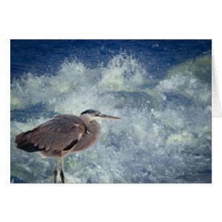 Garza y resaca en la isla del delfín tarjeta de felicitación