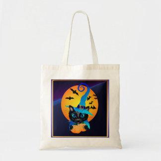 Gatito azul de la bruja - luna de cosecha bolsas de mano