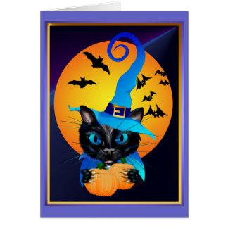 Gatito azul de la bruja - luna de cosecha tarjetas