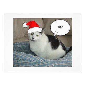 Gatito blanco y negro del navidad flyer a todo color