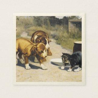 Gatito con la pintura del vintage de 2 perritos servilleta de papel
