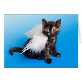 Gatito con las alas tarjeta de felicitación