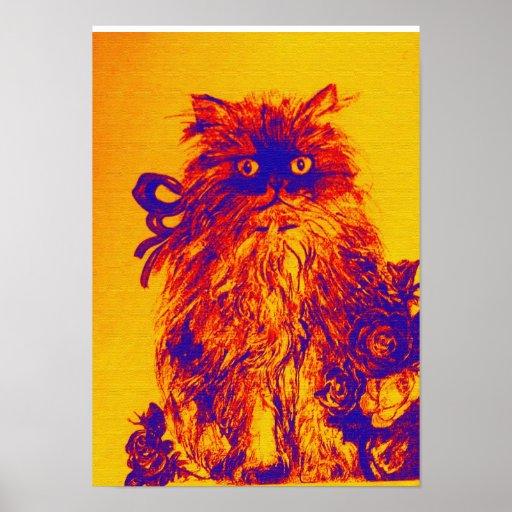 GATITO CON los ROSAS, azul amarillo-naranja Poster