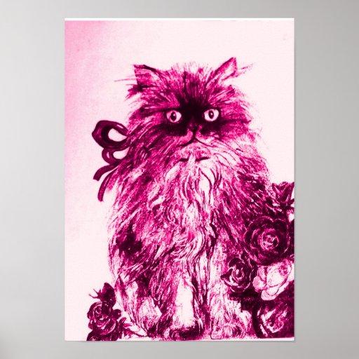 GATITO CON los ROSAS, blanco fucsia rosado Posters
