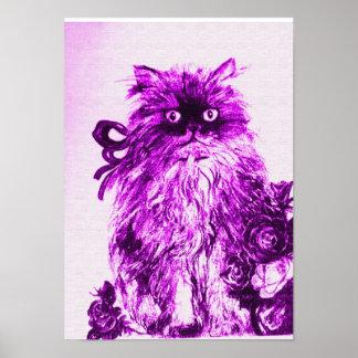 GATITO CON LOS ROSAS, violeta y blanco púrpuras Póster