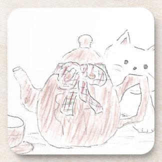 Gatito de la caldera de té posavasos de bebida