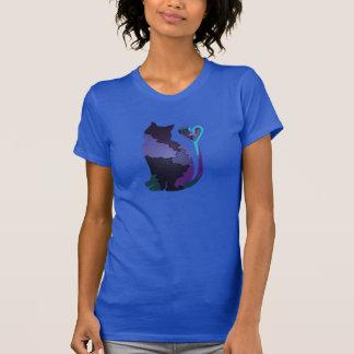 Gatito de la púrpura del remiendo camiseta