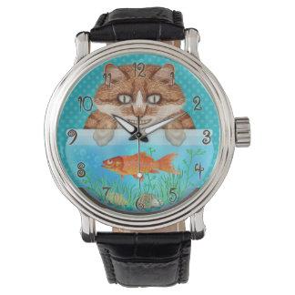 Gatito de mueca hambriento divertido del cuenco reloj de pulsera