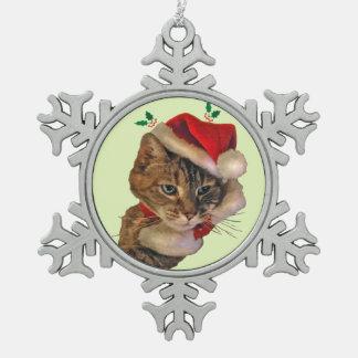 Gatito de Santa con acebo Adornos